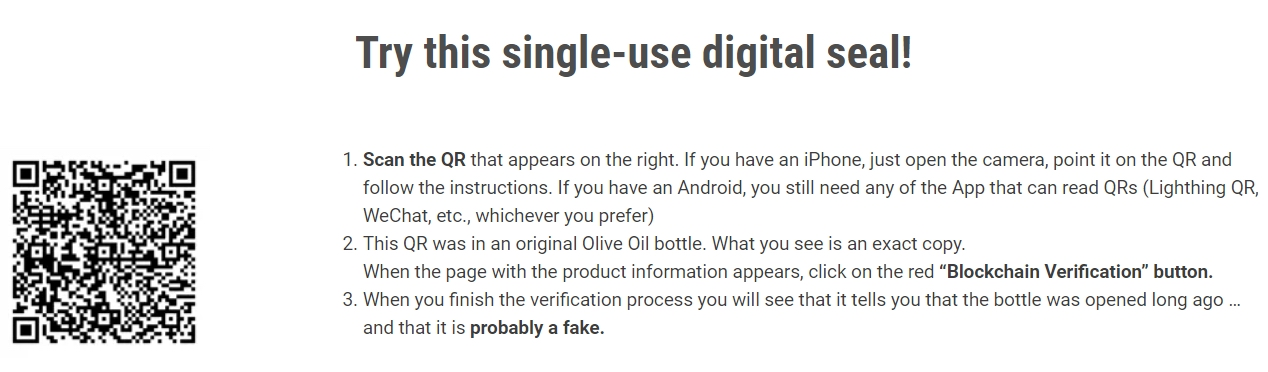 Olive oil QR code