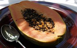 Inside a papaya fruit