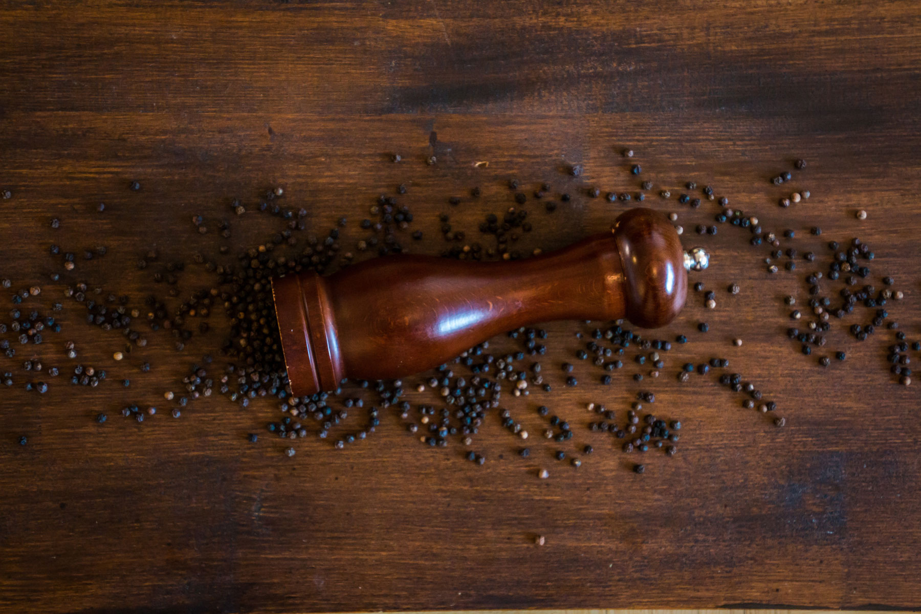 Classic manual wooden pepper mill