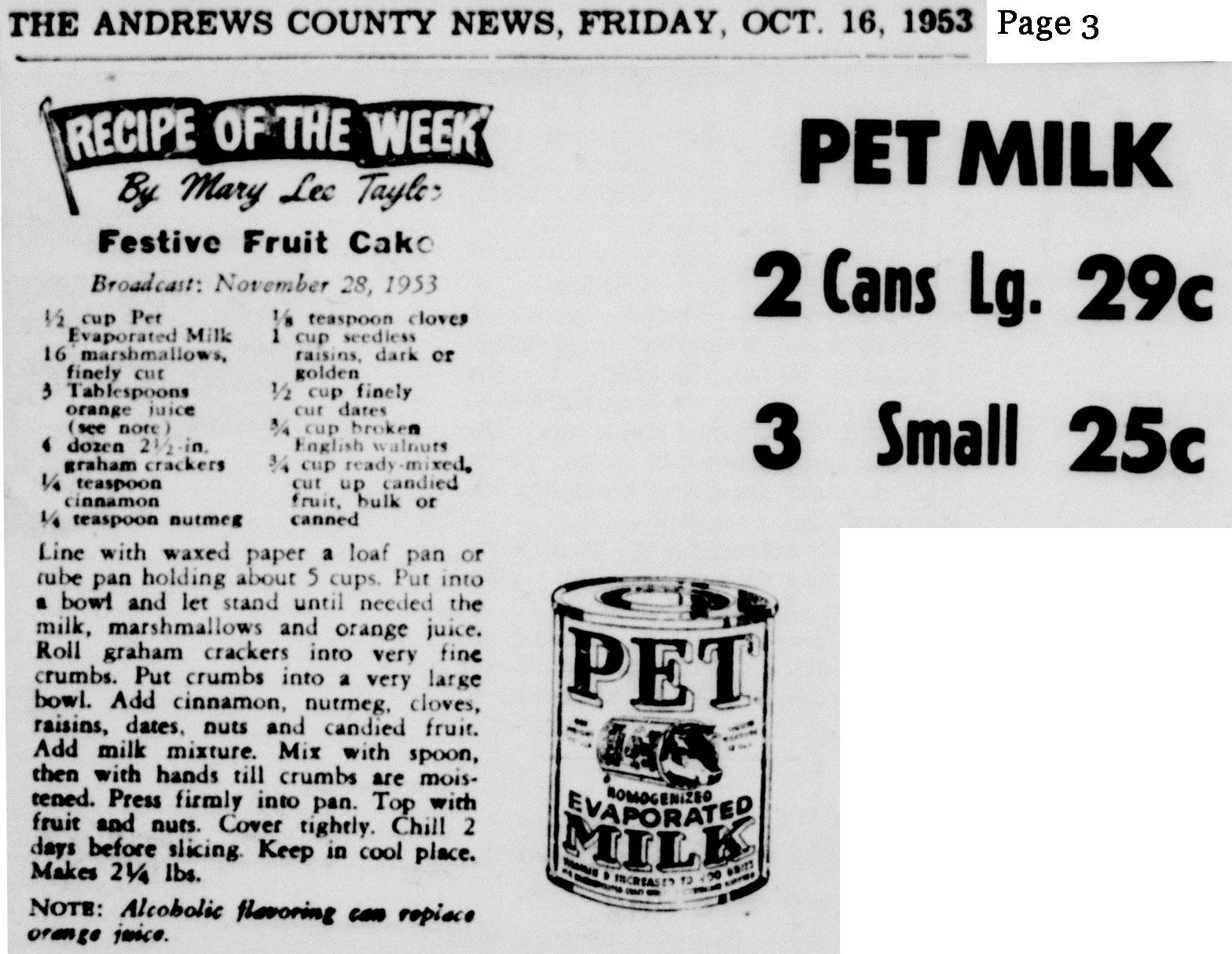Pet No-Bake Festive Fruit Cake Recipe 1953