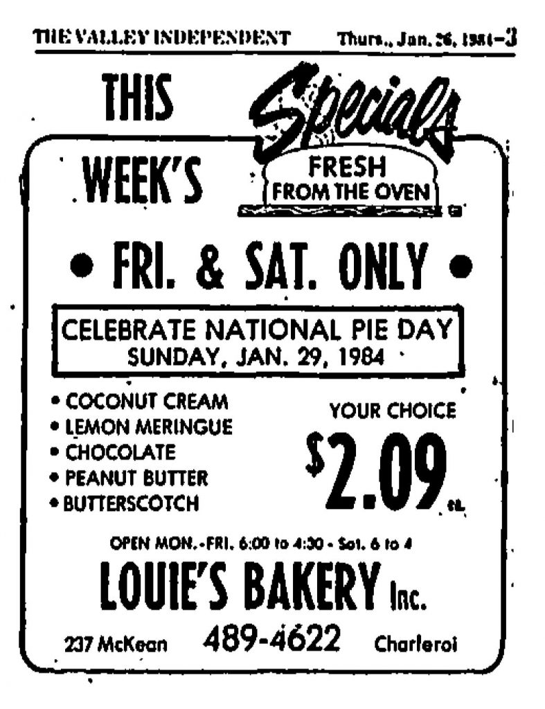 advertisement mentioning pie day 1984