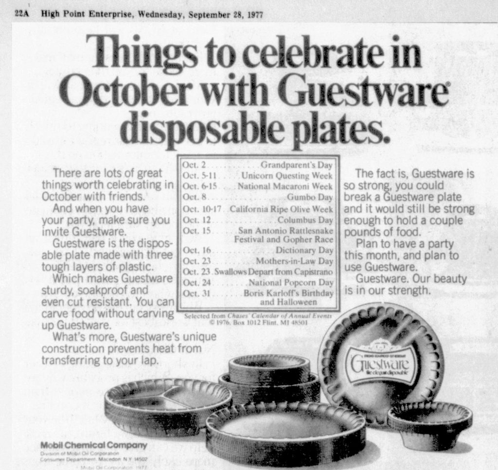 1977 ad showing october popcorn day