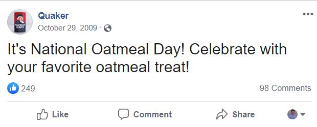 Quaker saying october 29th is oatmeal day