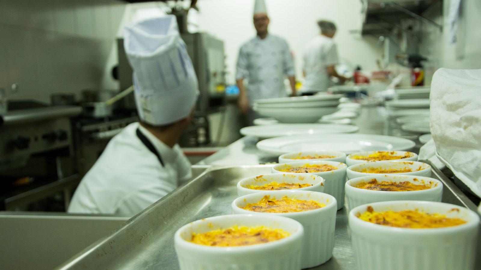 Ramekins in restaurant kitchen