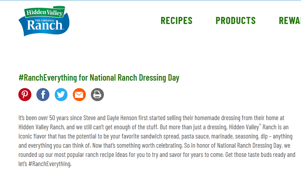 Ranch Dressing Day, Hidden Valley Site 2021