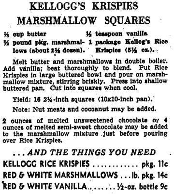1940s Rice Krispies Squares recipe