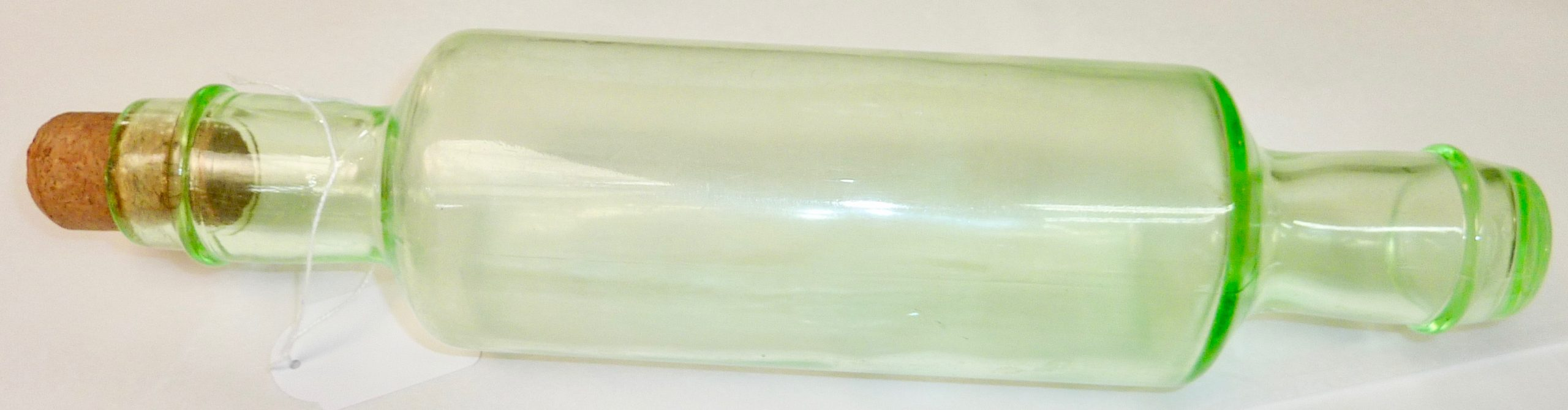 Depression glass rolling pin with cork stopper