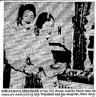 Ruth Wakefield and daughter Mary Jane making cookies
