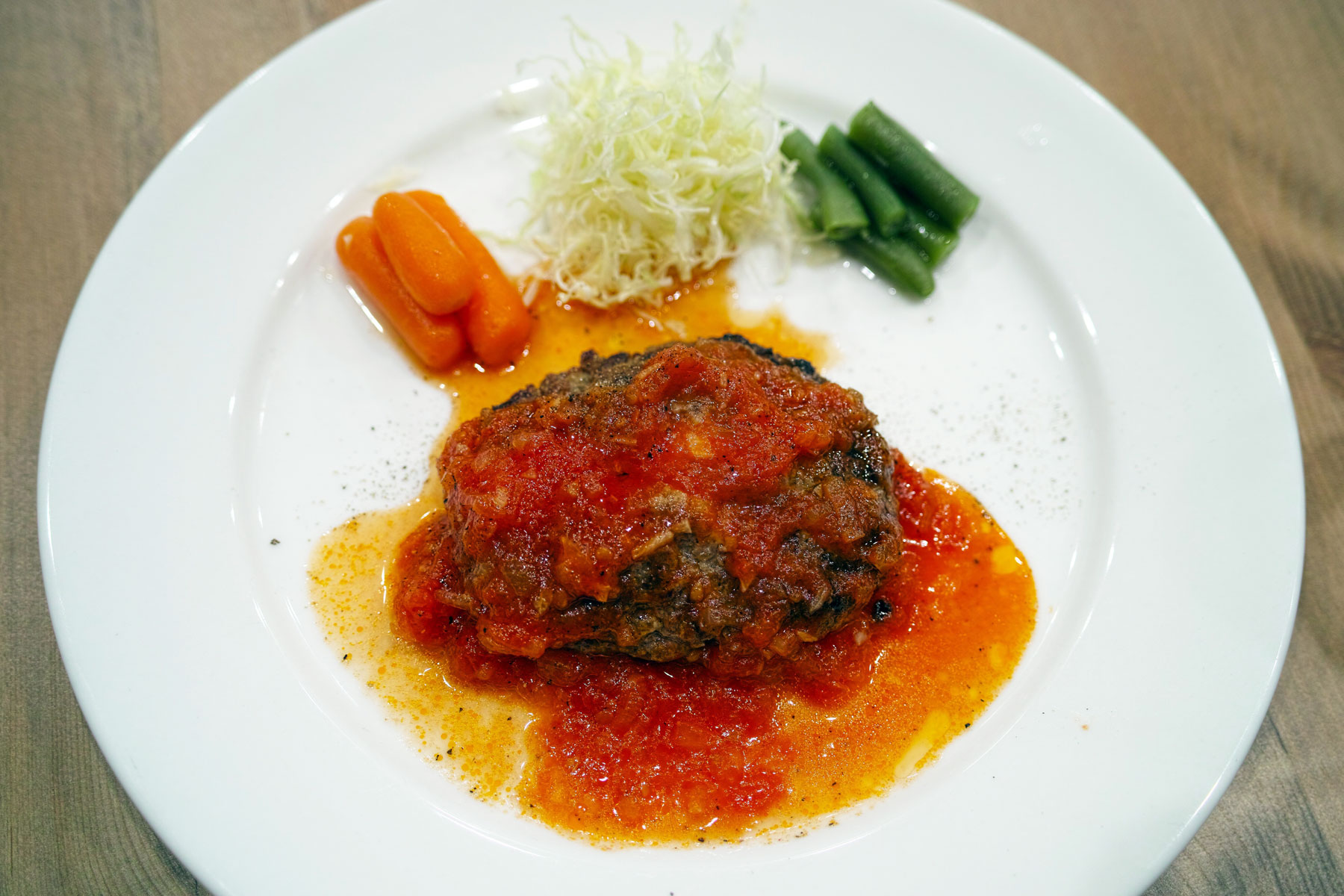 Salisbury steak with tomato sauce