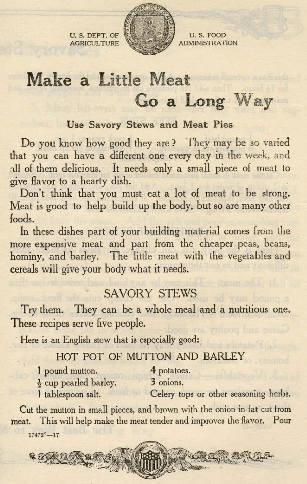 World War 1 Pamphlet about stretching meat