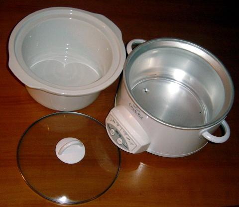 Slow cooker parts: lid, heating base, crock