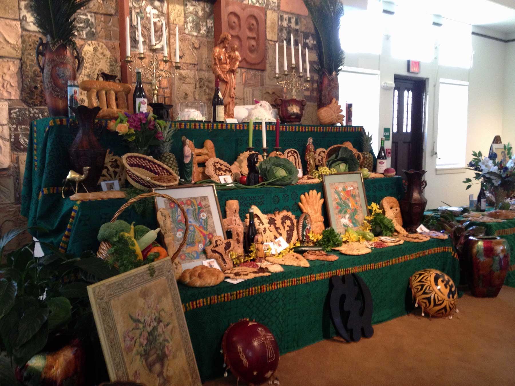 St Joseph's table showing decorative breads