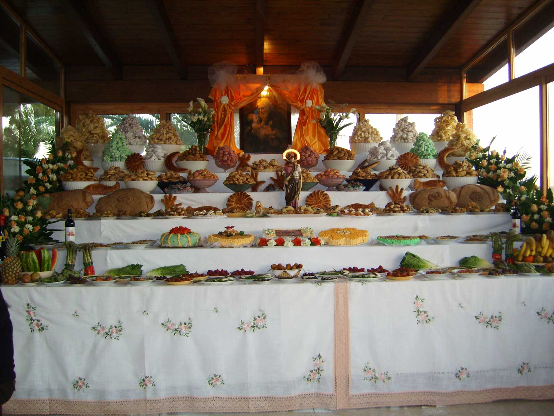St Joseph's table with many tiers