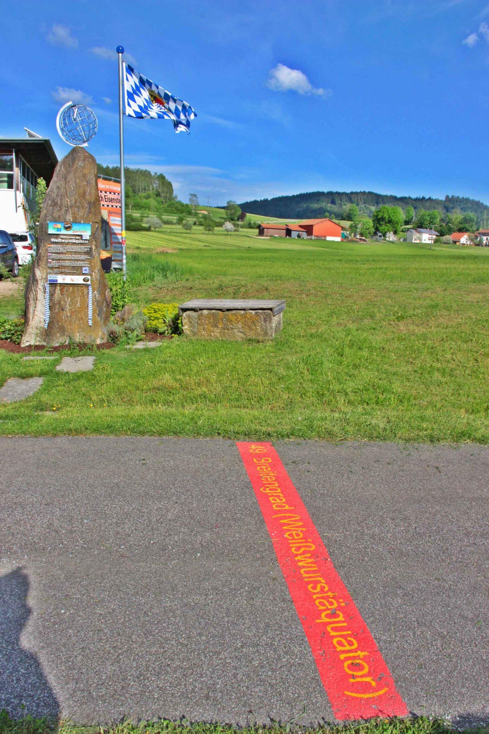 Weißwurst sausage equator monument, 49th degree of latitude in Zwiesel, North Bavaria
