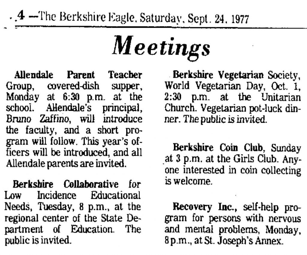 1977 print mention of World Vegetarian Day